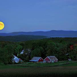 Harvest Moon Over Peacham Vermont by John Vose