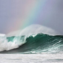 Hawaii Morning Light Rainbow Flows From Ocean Surf Wave by Julie Thurston Let Go  Live Hawaii