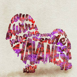 Hbavanese Dog Watercolor Painting / Typographic Art - Ayse and Deniz