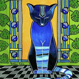 He Is Back - Blue Cat Art by Dora Hathazi Mendes