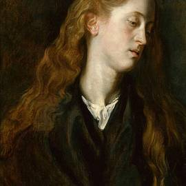 Head Study Of A Red-haired Young Woman Looking Down by Anthony van Dyck