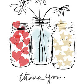 Hearts and Stars Thank You- Art by Linda Woods - Linda Woods