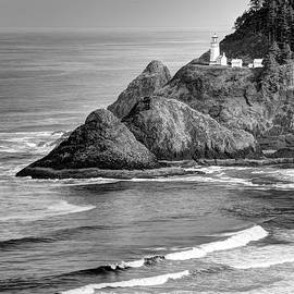 Heceta Head Light In Black And White by Harold Rau