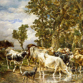 Herd of Cows at a Drinking Pool - Charles Emile Jacque