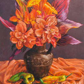 Hibiscus and Cannas in Balinese Jug by Fiona Craig