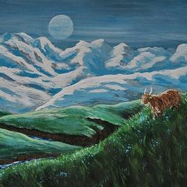Highland Cow in the Moonlight by Teresa A Lang