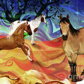 Hillside Horses by KaFra Art