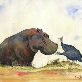 Juan Bosco - Hippo with guinea fowls