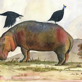 Juan Bosco - Hippo with guineafowls