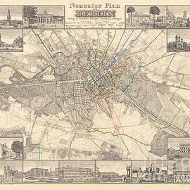 Historical map of Berlin, 1838 - German School