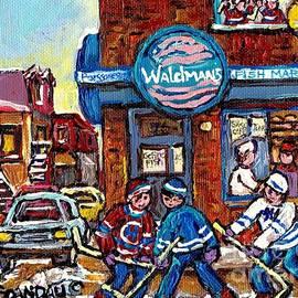 Hockey Art Montreal Memories Waldman's Fish Market Streets Of The Plateau Quebec Carole Spandau by Carole Spandau