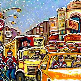 Hockey Kids On Main Street Montreal Memories Lindy's Restaurant Rialto Theatre Canadian Winter Scene by Carole Spandau