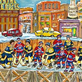 Hockey Rink Painting Boston Vs Montreal 1979 Cityscene Five Roses And Milk Bottle Skyline C Spandau by Carole Spandau