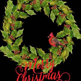 Holly Christmas Wreath And Cardinal