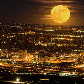 Home Sweet Hometown Bathed In The Glow Of The Super Moon  by Bijan Pirnia