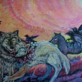 Susan Brown    Slizys art signature name - Homecoming Wolves and Ravens