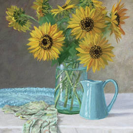 Bonnie Mason - Homegrown - Sunflowers in a Mason jar with gardening gloves and blue cream pitcher