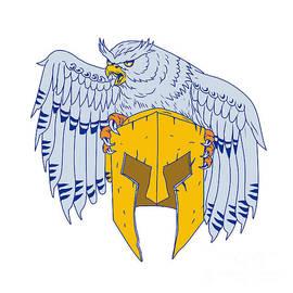 Aloysius Patrimonio - Horned Owl Clutching Spartan Helmet Drawing