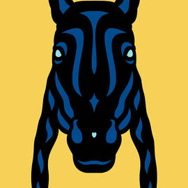 Horse Face Rick - Horse Pop Art - Primrose Yellow, Lapis Blue, Island Paradise Blue by Manuel Sueess