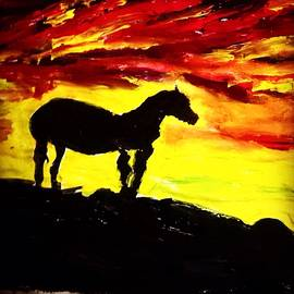Horse Rider In The Sunset by Love Art Wonders By God