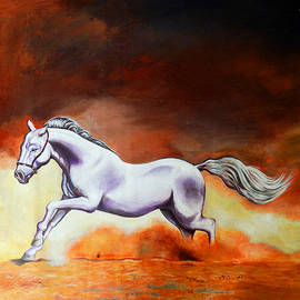 Horse Running Portrait by Asp Arts