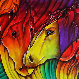 Horses Affection Painting Abstract by Asp Arts