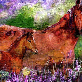 Horses Chestnut Mare And Foal by Ginette Callaway