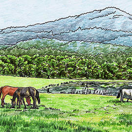 Horses Grazing Valley And Mountains Landscape by Irina Sztukowski