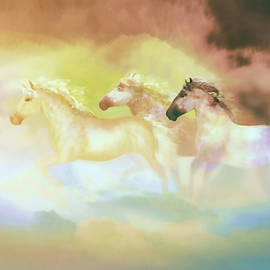 Horses in a pearly mist by Valerie Anne Kelly