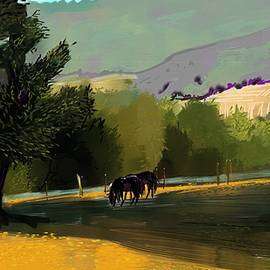 Horses in field by Debra Baldwin