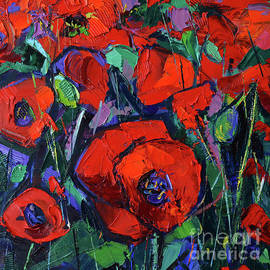 Mona Edulesco - HOT POPPIES contemporary impressionist palette knife oil painting