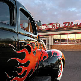 Gill Billington - Hot Rod At The Diner At Sunset