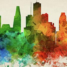 Houston Skyline Panorama USTXHO-PA03 - Aged Pixel