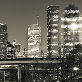 Gregory Ballos - Houston Texas Skyline - Sepia Dusk Skies
