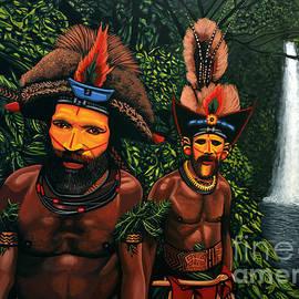 Paul Meijering - Huli men in the jungle of Papua New Guinea