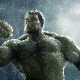 Hulk Oil Pastel Sketch by Movie Poster Prints