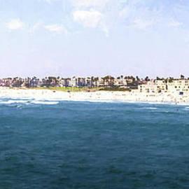 Hunington Beach Panorama - digital painting by Scott Pellegrin