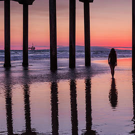 Huntingdon Beach Pier Silhouette at sunset by Maggie Mccall