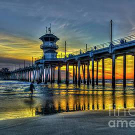 Reid Callaway - Huntington Beach Pier Sunset Reflections California Surfing Mecca Art