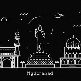Hyderabad Skyline Travel Poster - Inspirowl Design