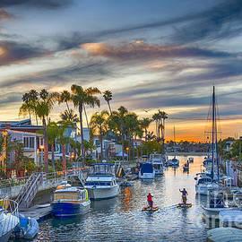 Docked Canal Boats Sunset by David Zanzinger
