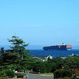 Delores Malcomson - Hyundai Merchant Ship Off The Coast of Port Angeles WA In The Strait of Juan de Fuca