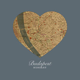 I Heart Budapest Hungary Street Map Love Series No 100 - Design Turnpike