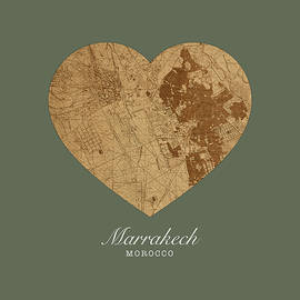 I Heart Marrakech Morocco Street Map Love Series No 081 - Design Turnpike