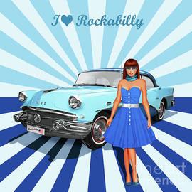 Monika Juengling - I love Rockabilly, variant 2 in blue