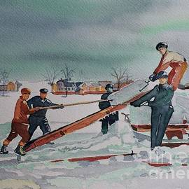 ICE CUTTERS on the Rideau circa 1920's by Lise PICHE