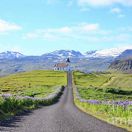 Iceland Church at the end of a long road - Edward Fielding
