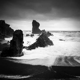 Iceland Dritvik beach and cliffs dramatic black and white