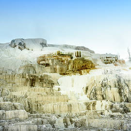 Rod Gimenez - Iconic steaming geothermal Mammoth Hot Springs on Yellowstone National Park