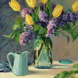 Bonnie Mason - Ideal - Yellow Tulips and Lilacs in a Blue Mason Jar